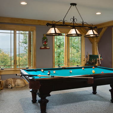 Black Canyon Builders, Durango, CO courtesy Woodhouse Timber Frame Company, pool table
