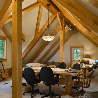 Black Canyon Builders, Durango, CO courtesy Woodhouse Timber Frame Company, interior office space