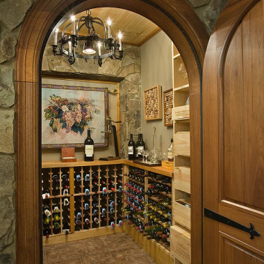 Black Canyon Builders, Durango, CO courtesy Woodhouse Timber Frame Company, wine cellar